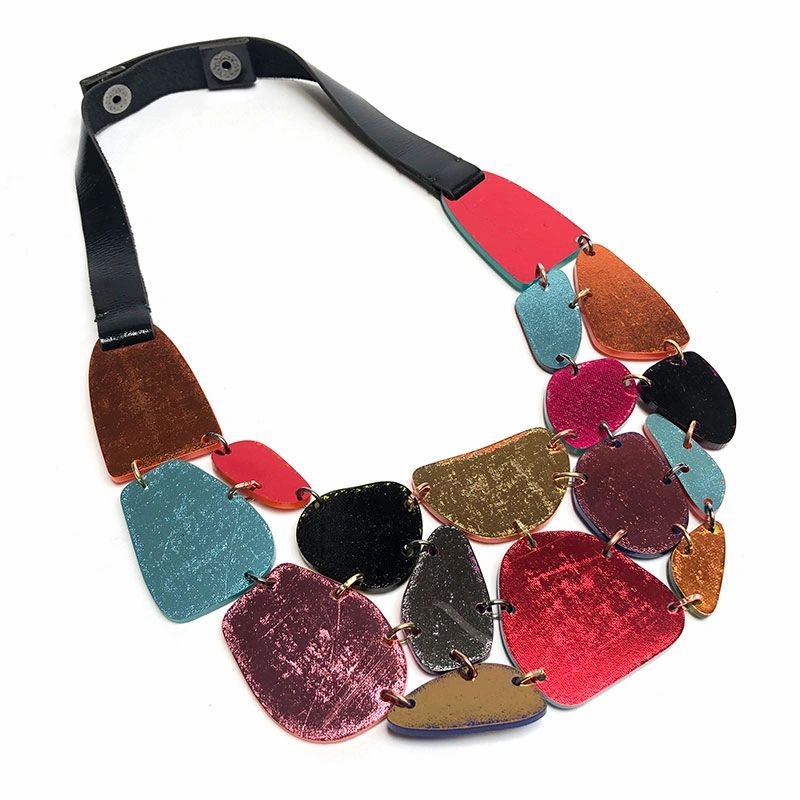 colorful ladies leather necklace