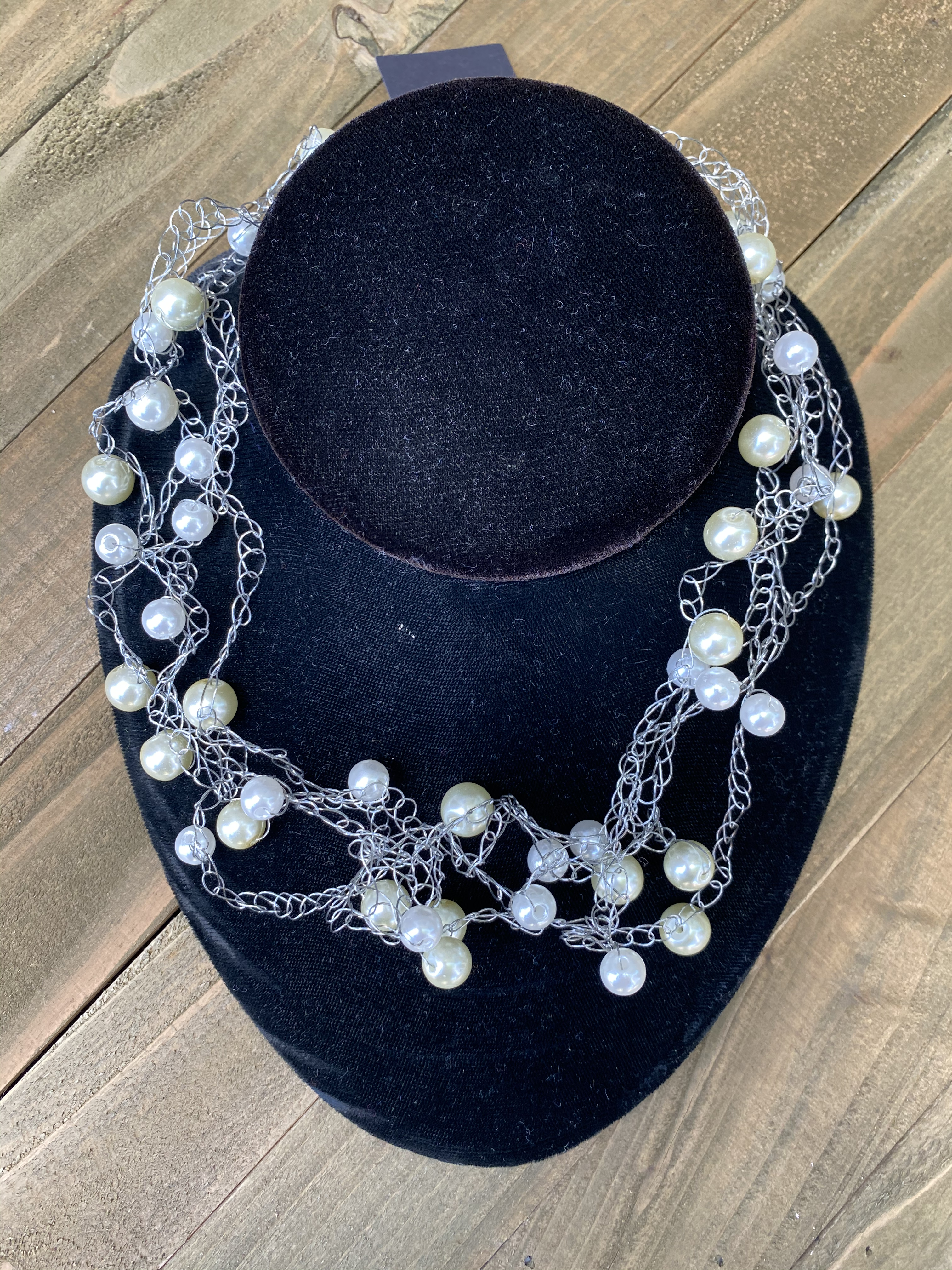 crocheted pearl silver necklace